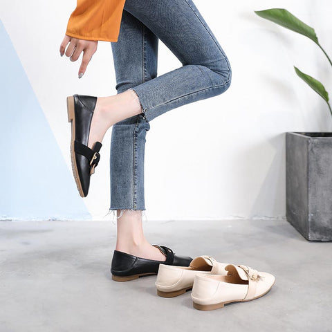 British style square head wild flat shoes