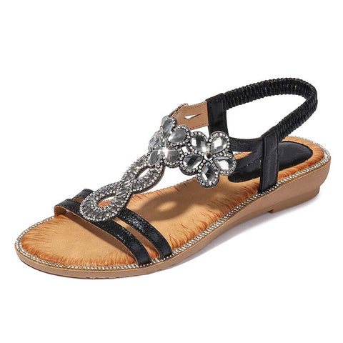 Ethnic style all match lightweight diamond wedge sandals