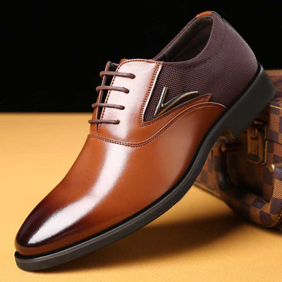 Solid color men's business casual British fashion shoes