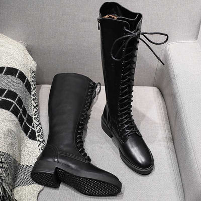 Autumn and winter new high tube knight thick with Martin boots female