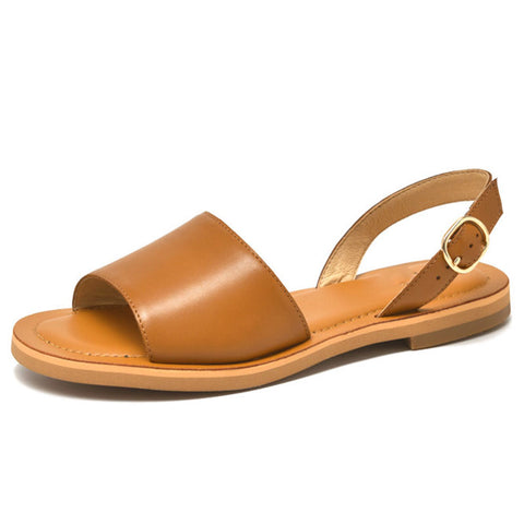 Brief Peep Toe Leather Slip-On Hollow Flat Heel Solid Color Sandals