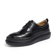 New leather flat bottom British wind platform women's shoes