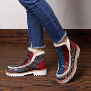 2019 new European and American short boots fashion handmade leather stitching hand-painted casual women's plus velvet boots