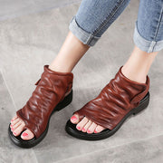 Thong Open Toe Leather Velcro Flat Heel Solid Color Sandals