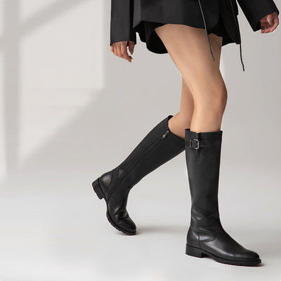 Autumn and winter new thick heel long leather boots fashionable flat round toe below knee boots