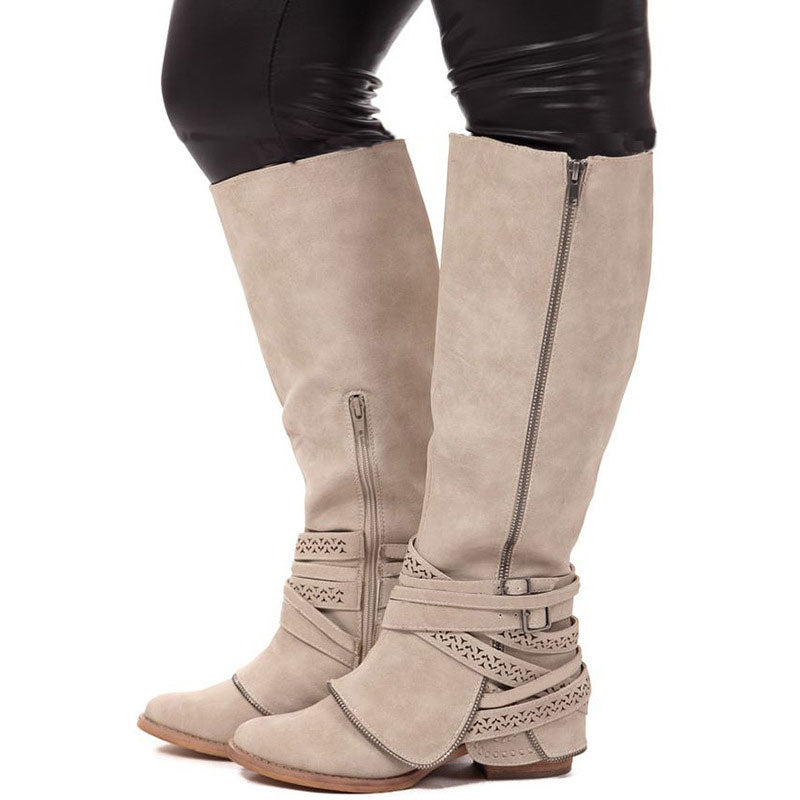 3d89b39f1e74 Double Zipper Hollow Belt Buckle Thick Knee-High Chunky Heel Boots ...