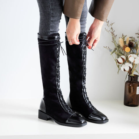 Autumn and winter new straps Roman boots high boots thick heel knight boots stovepipe boots