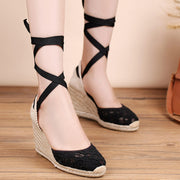 Lace Hollow Round Toe Lace-Up High Heel See-Through Wedge Sandals