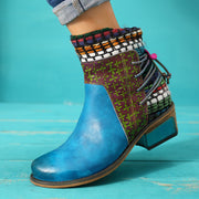 Low Heel Color Block Lace-Up Round Toe Ankle Boots