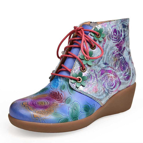 Ethnic style printed lace-up ankle boots