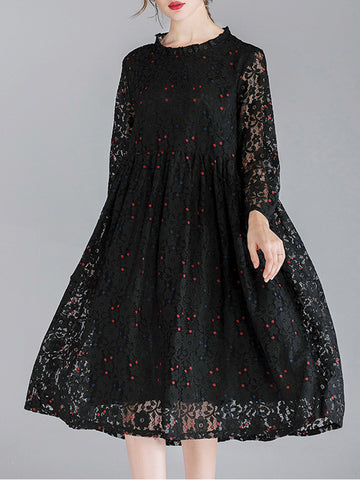 Solid Color Hollow Ruffle Stand Collar Long Sleeve Lace Dresses