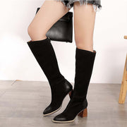 Plus velvet leather high heel thick heel over the knee boots