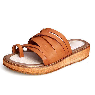 Solid Color Thong Cross Hollow Slip-On Large Size Loafer Sandals