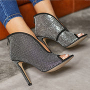 Luxury Rhinestones Stiletto High Heel Hollow Peep Toe Ankle Sandals