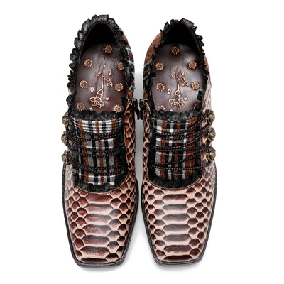 Original hand-printed women's large size elegant square toe snake-pattern classic chunky heel leather shoes