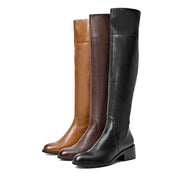 New retro leather British fashion over the knee women's boots
