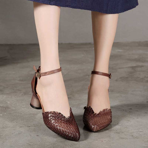 Solid color woven pointed buckle fashion high heels
