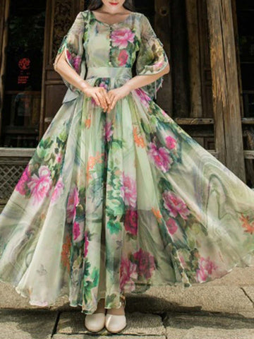 Bohemian Cliffon Cold Shoulder Floral V-Neck Pleated Big Hem Maxi Dresses