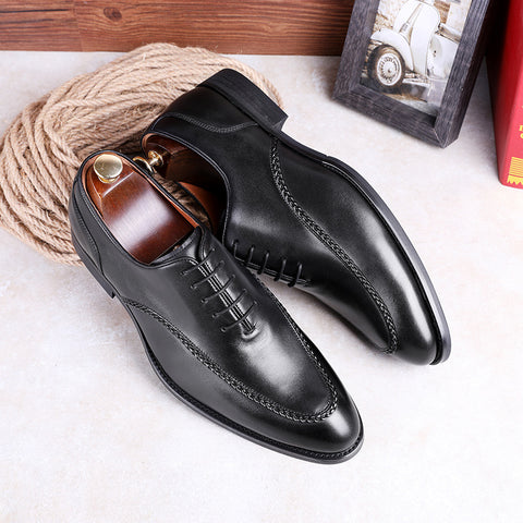 New men's business formal firstlayer cowhide Compound rubber sole men's lace-up leather shoes