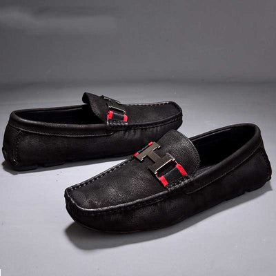 Leather men's casual shoes tide low-top the British driving peas shoes
