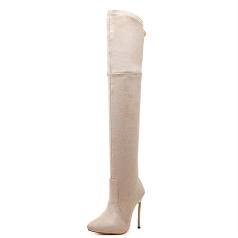 Solid Color Point Toe Stiletto Heel Point Toe Suede Knee-High Boots