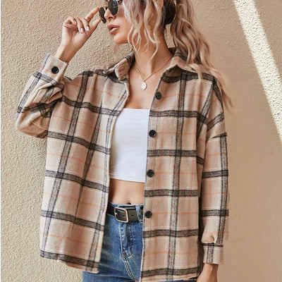 Explosion style women's autumn and winter plaid thickened long sleeve shirt