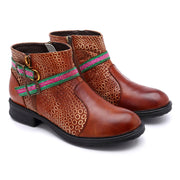 Leather Color Block Belt Buckle Circle Pattern Low Heel Boots