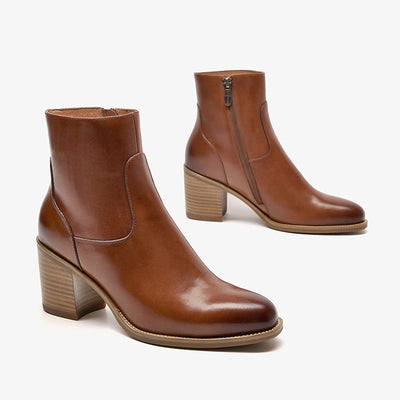 Women's new high-heeled pointed chunky heel short leather Chelsea boots fashionable ankle boots
