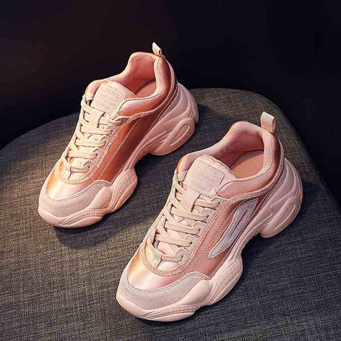 Spring new thick retro Korean casual women's shoes color matching mesh sneakers