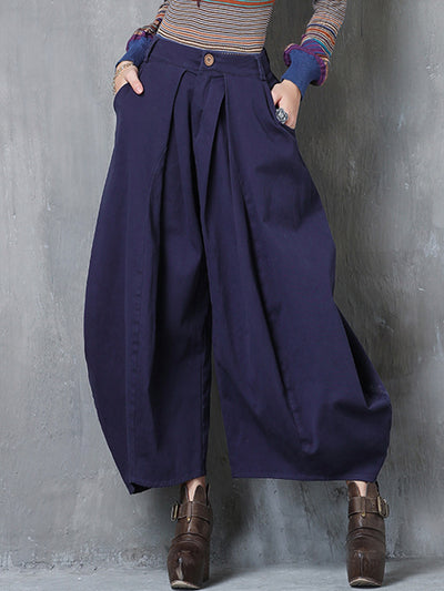 Cotton Solid Color Asymmetric Pleated Pocket Button Wide Legging Pants