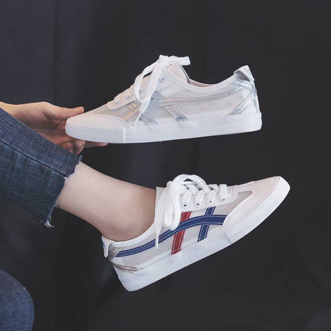 Autumn breathable white openwork canvas strap versatile casual shoes