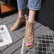 Fashion Solid Color Hollow Buckle Strap Chunky Heel Sandals