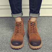Winter warm plus velvet Martin boots leather tooling high-top men's shoes trend cotton shoes
