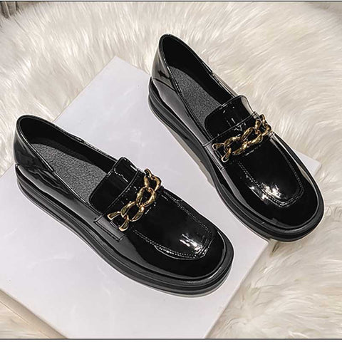 Women's British style soft leather leather shoes college style all-match platform loafers