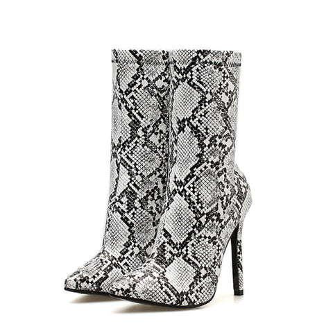 Serpentine Point Toe Stiletto Heel Mid-Calf High Heel Side Zipper Sexy Boots