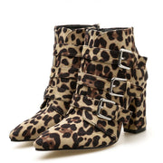 Snakeskin Leopard Point Toe Chunky Heel Buckle Suede Patchwork Boots