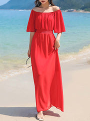 Solid Color Slash Neck Short Sleeve Chiffon Pleated A-Line Maxi Dresses