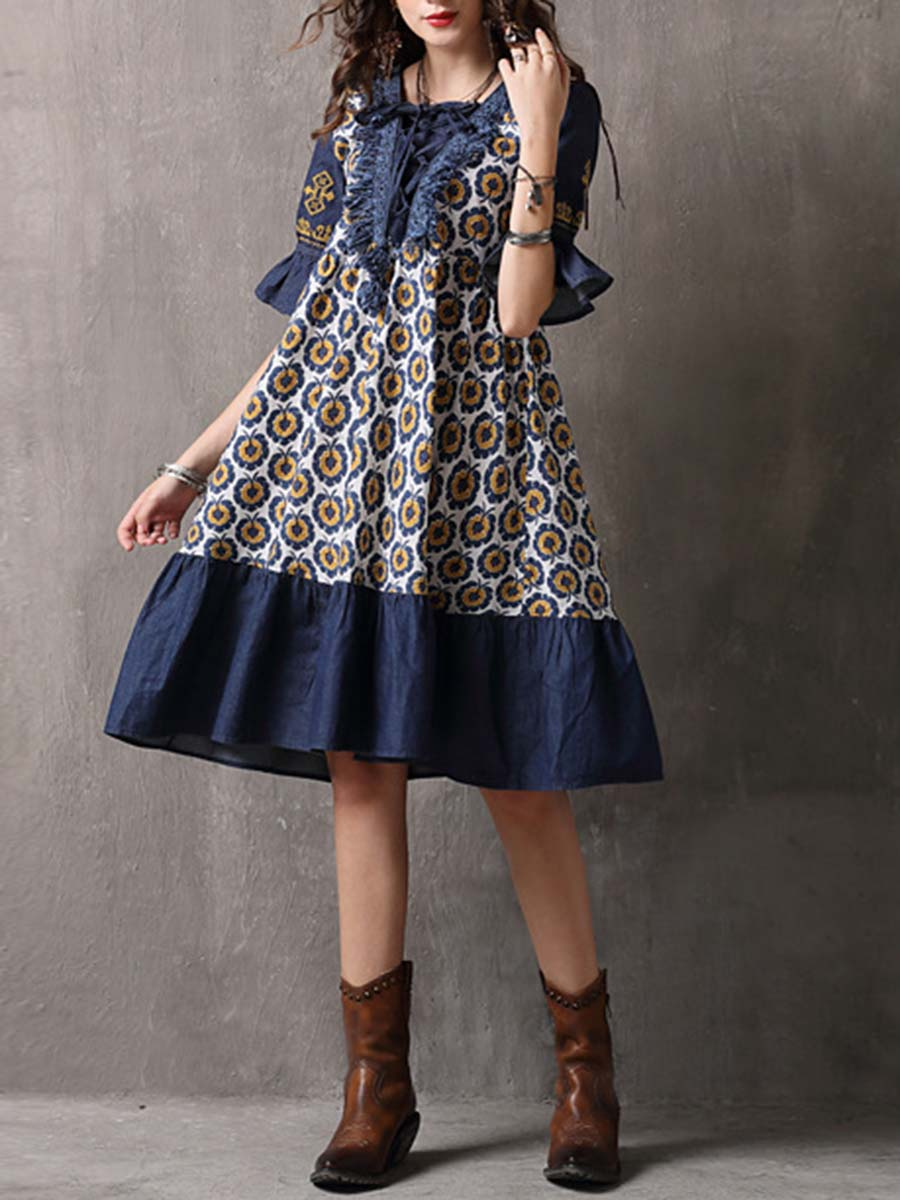 e10195f7f91 Floral Bowknot Patchwork Ruffle Short Sleeve Round Neck Day Dresses ...