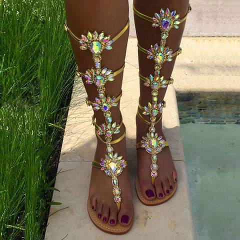 Flower Thong Buckle Rhinestones Flat Heel Halo Sandals
