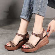 Vintage buckle ladies wedge sandals