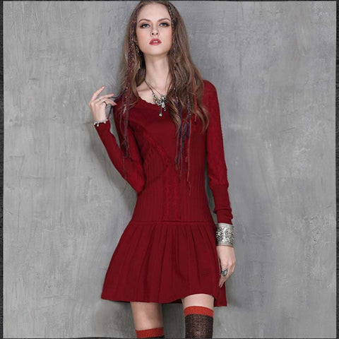 2019 autumn new hollow retro ruffled long-sleeved dress