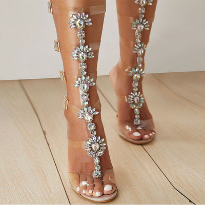 Luxury Flower Rhinestones Hollow Open Toe Stiletto Heel Buckle Sandals