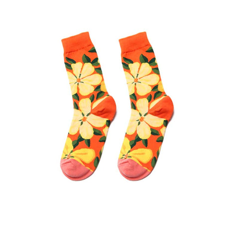 2019 retro literary plant printing tube cotton socks