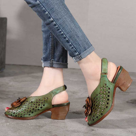 Fish mouth hollow fashion high heel sandals