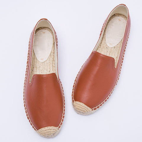 Solid Color Slip-On Leather Linen Round Toe Hollow Flats