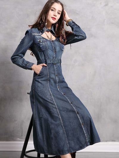 Spring 2020 new lapel embroidery jumpsuit denim skirt