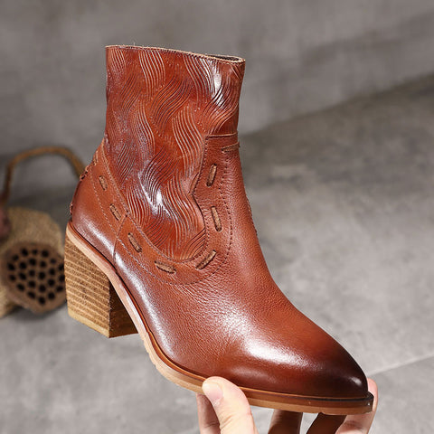 Vintage Leather Point Toe Embroidery Chunky Heel Side Zipper Boots