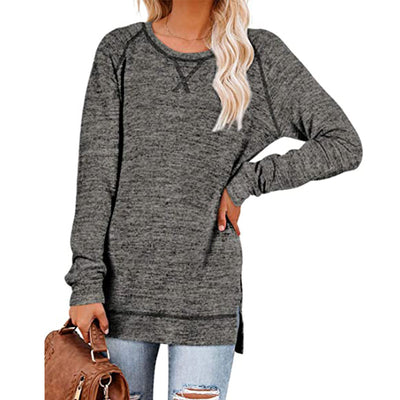 Women's autumn and winter loose solid color sweater cross-patch round neck pullover top