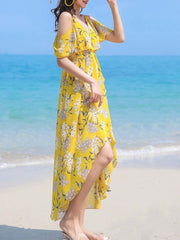 Asymmetric Floral Pleated Spaghetti Backless Chiffon Maxi Dresses