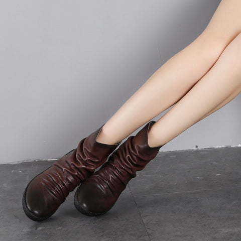 European and American casual pointed back fold leather booties